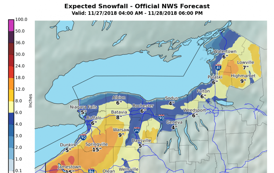 Revised forecasts have increased expected snowfall totals in Buffalo. The heaviest snows are forecast from Tuesday night to Wednesday night. (Image courtesy of the National Weather Service)