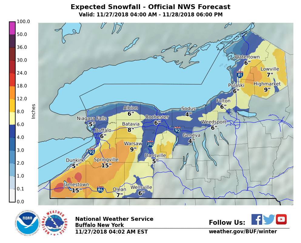 Heavy Wet Snow Forecast For Wny Winter Weather Advisory Posted For