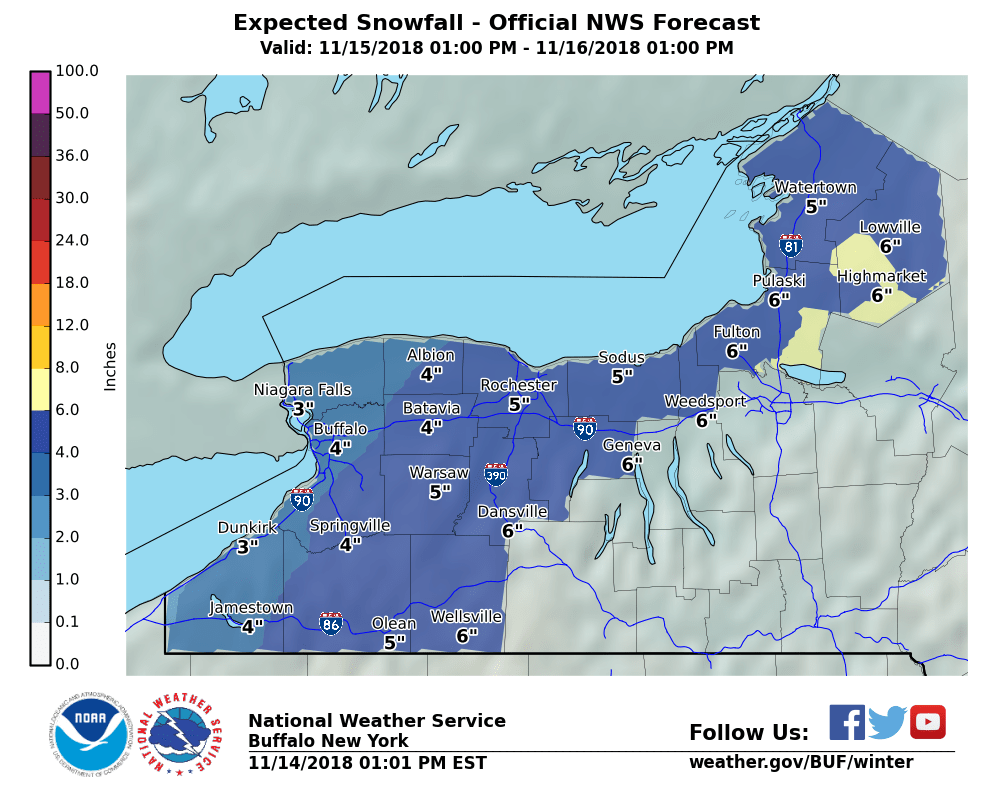 A winter weather advisory is posted for most of Western New York Thursday and Friday. Several inches of snow is expected. (NWS Buffalo)