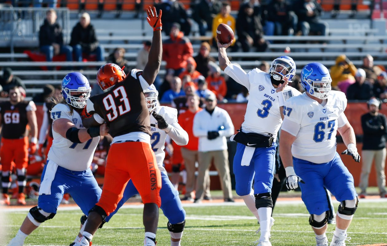 University at Buffalo quarterback Tyree Jackson throws a pass during the first quarter of the Bull's game against the Bowling Green Falcons at Doyt L. Perry Stadium in Bowling Green, Ohio on Nov. 23, 2018. (Photo by Scott W. Grau/Special to The News)