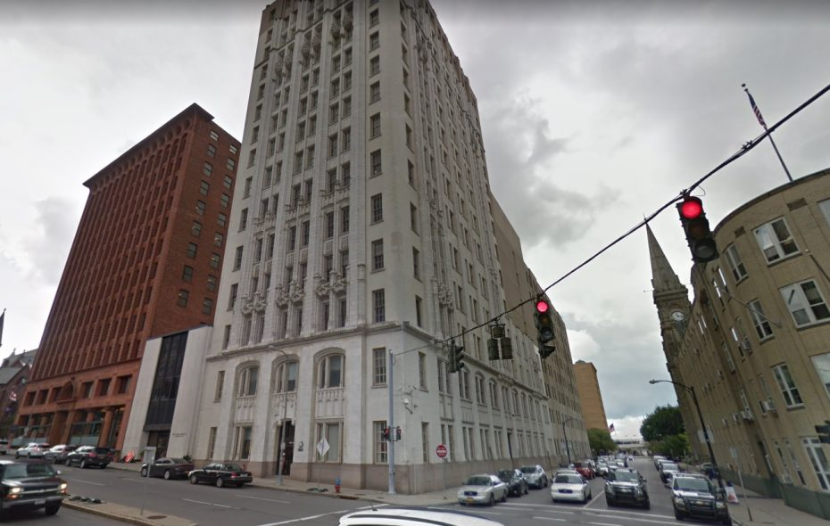 Verizon Communications is planning major restoration and repair work to its white downtown Buffalo office building, shown here. (Google)