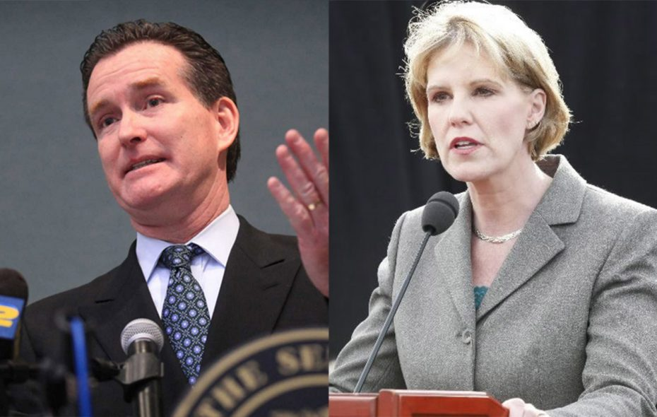 State Sen. John Flanagan, current Senate Majority Leader, and Sen. Catharine Young of Olean, current chairman of the Senate GOP campaign finance committee, competed to become Senate minority leader.