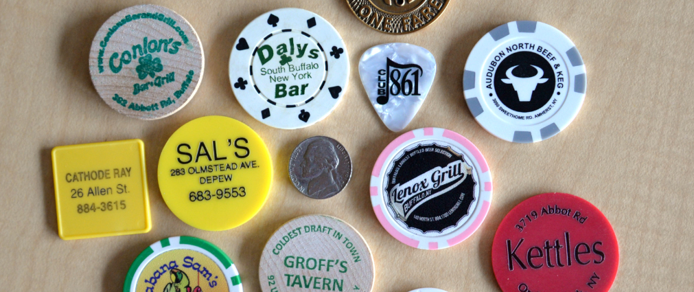 Here are just a handful of backup drink chips in Ed Bailey's extensive  collection. (Photo provided by Ed Bailey)