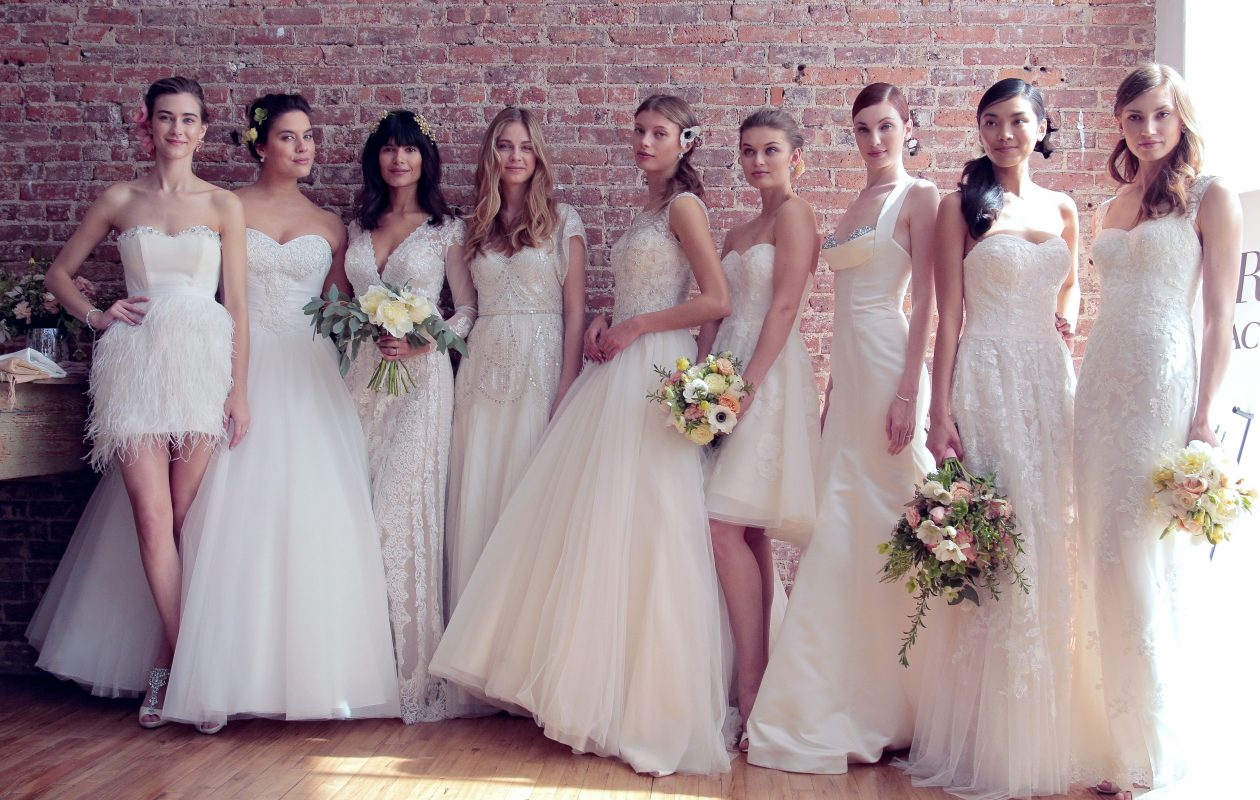 Models pose during the David's Bridal Spring/Summer 2017 presentation. (Getty Images)