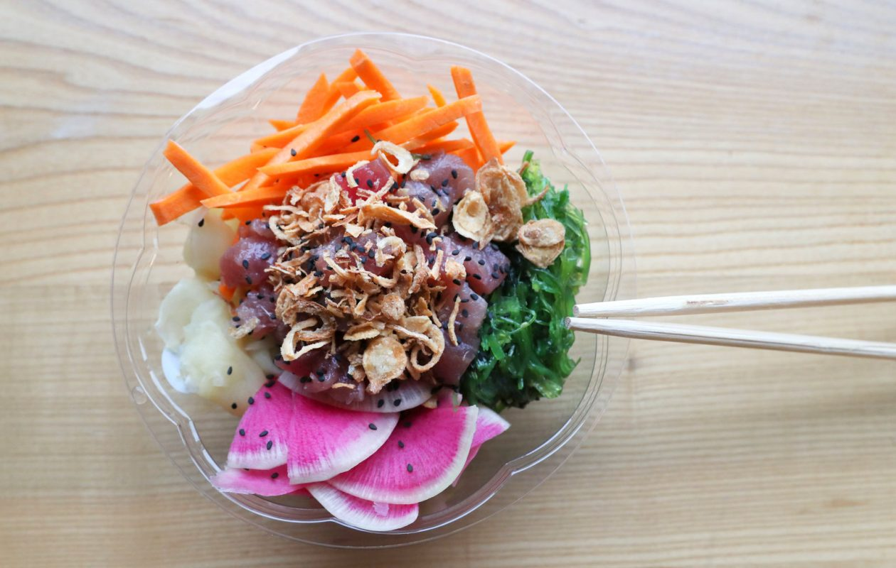 The Aloha OG bowl at Fresh Catch Poke Co. is made with ahi tuna, bamboo rice, green onion, carrots, watermelon radish, fried onions, sesame seeds and sesame shoyu sauce. (Sharon Cantillon/Buffalo News)