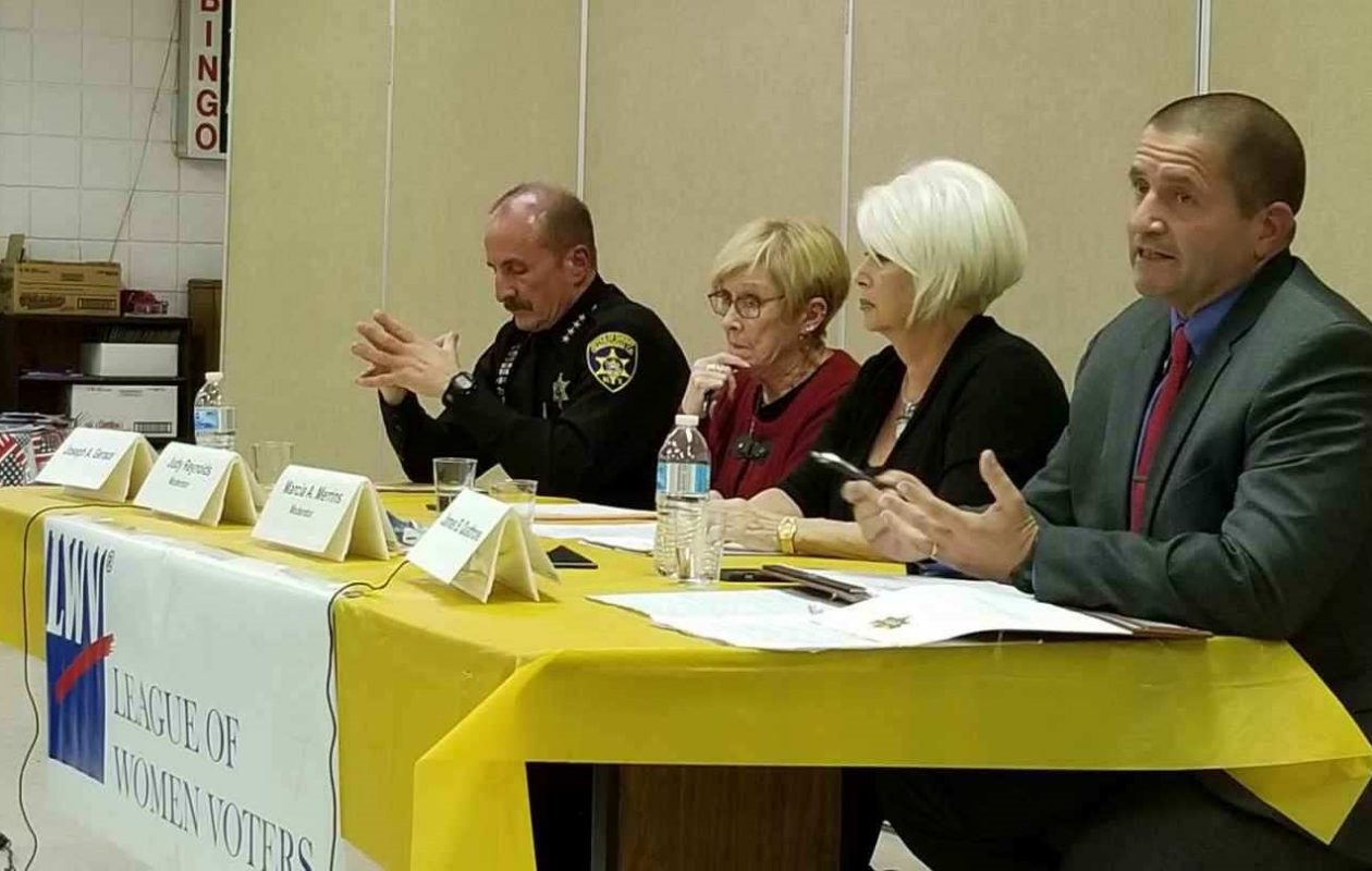 Chautauqua County Sheriff Joseph Gerace Jr. (left), moderators Judith Reynolds and Marcia Merrins, and candidate Jim Quattrone at a Chautauqua County League of Women Voters candidates debate. Quattrone was elected sheriff last Tuesday. (Image courtesy Chautauqua County League of Women Voters)