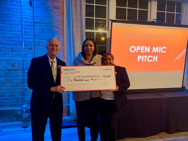 From left, Buford Sears, of KeyBank; Tamika Otis, program manager of KeyBank Business Boost and Build NY; and first-prize winner Laythanette Shine. (Provided photo)