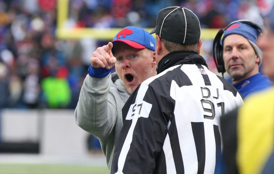 Sean McDermott in the aftermath of a sideline fight in the Bills-Jaguars game (James P. McCoy/Buffalo News)