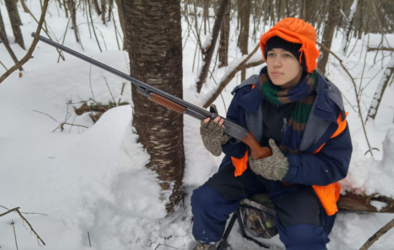 Natalie Hilts of Sanborn enjoyed her first big game hunt in the Southern Zone despite the deep snow and cold temperatures.