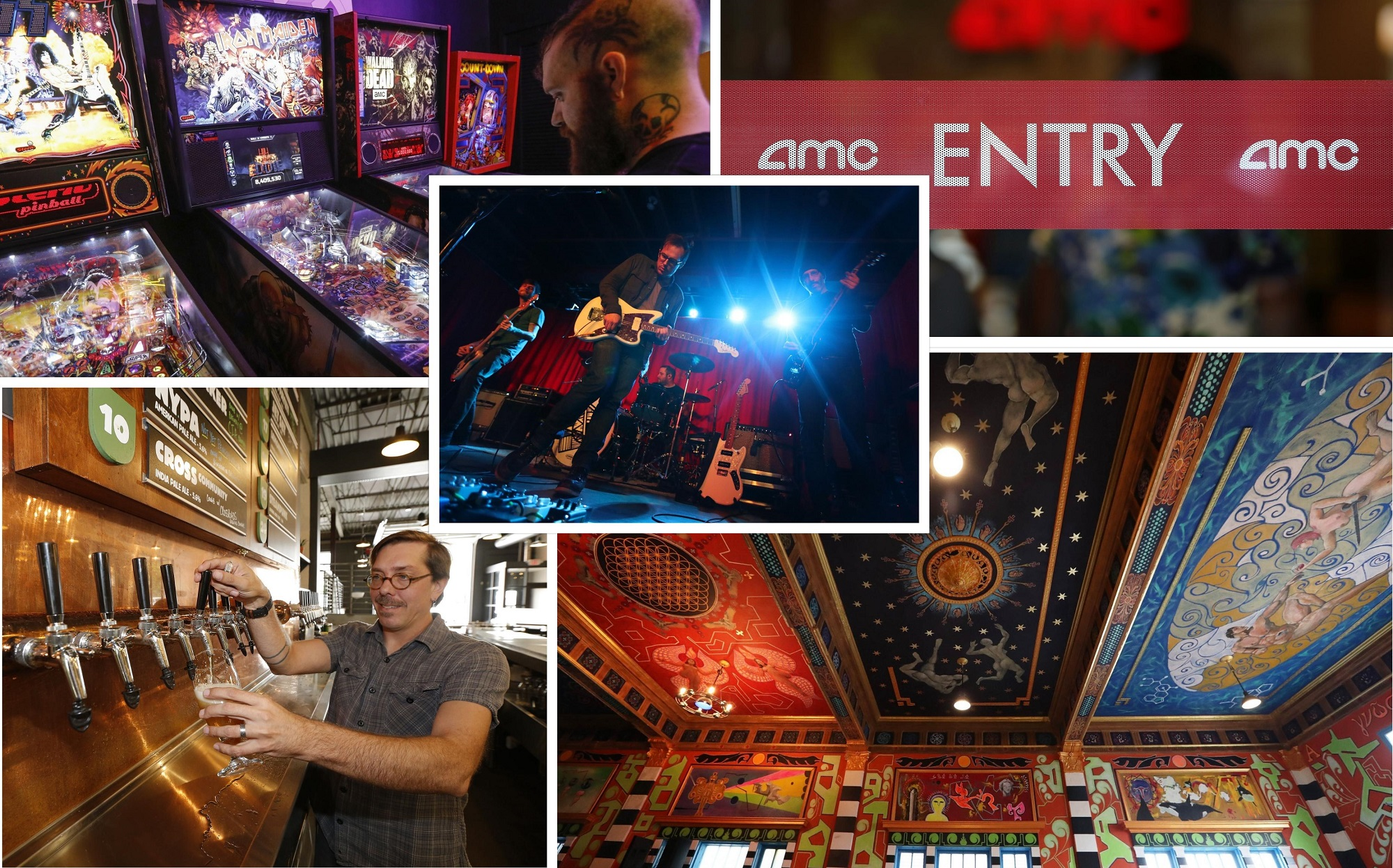 Buffalo's expats have a wealth of new places to check out when returning for the holidays. From upper left, clockwise: Misuta Chow's, AMC Market Arcade, The Tabernacle at Sweet_ness7 and Community Beer Works. Middle is Restorations performing in new Buffalo concert venue Rec Room. (News file photos)