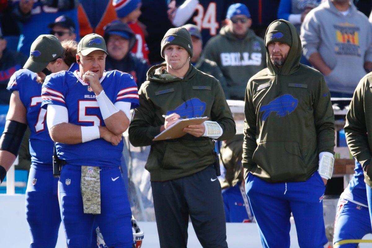Bills quarterbacks Matt Barkley, Josh Allen and Derek Anderson on the sideline against the Bears. (Harry Scull Jr./Buffalo News)