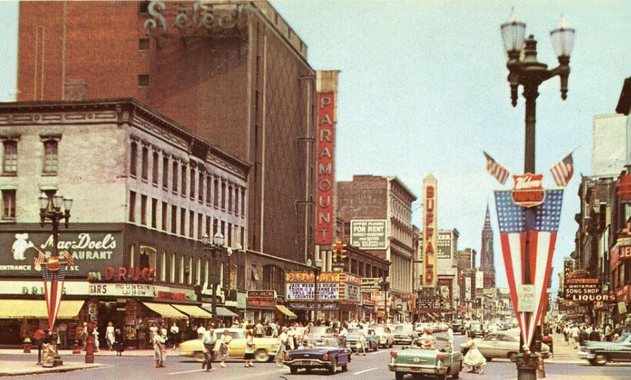 Main looking north from Chippewa, with the Shea's Buffalo marquee looming, from a postcard from about 1957.