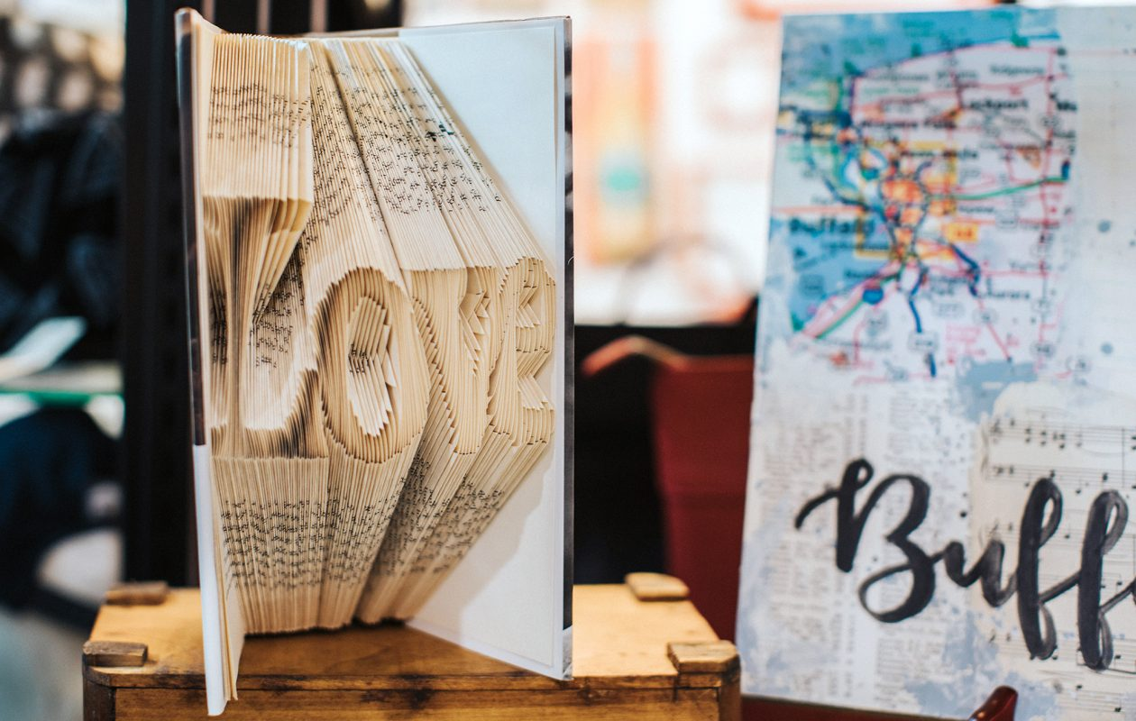 LitARTure book sculptures are available at Shopcraft on Elmwood as well as online. (Katie Friedman)