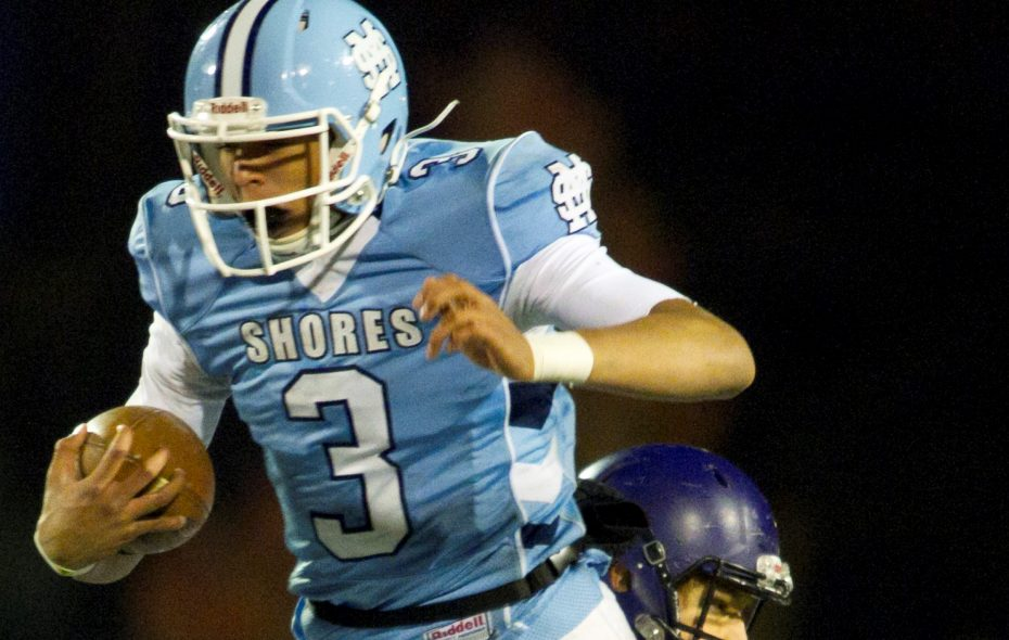 Mona Shores' Tyree Jackson runs against Caledonia during the Division 2 football playoff opener at Mona Shores in Norton Shores Saturday, Nov. 1, 2014. Mona Shores won 42-14. (Cory Morse | MLive.com)