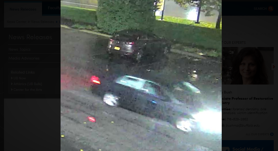 University at Buffalo police released this surveillance camera image of a car believed to have been involved in a hit-and-run that left a student critically injured Nov. 1. (Photo courtesy of UB Police)