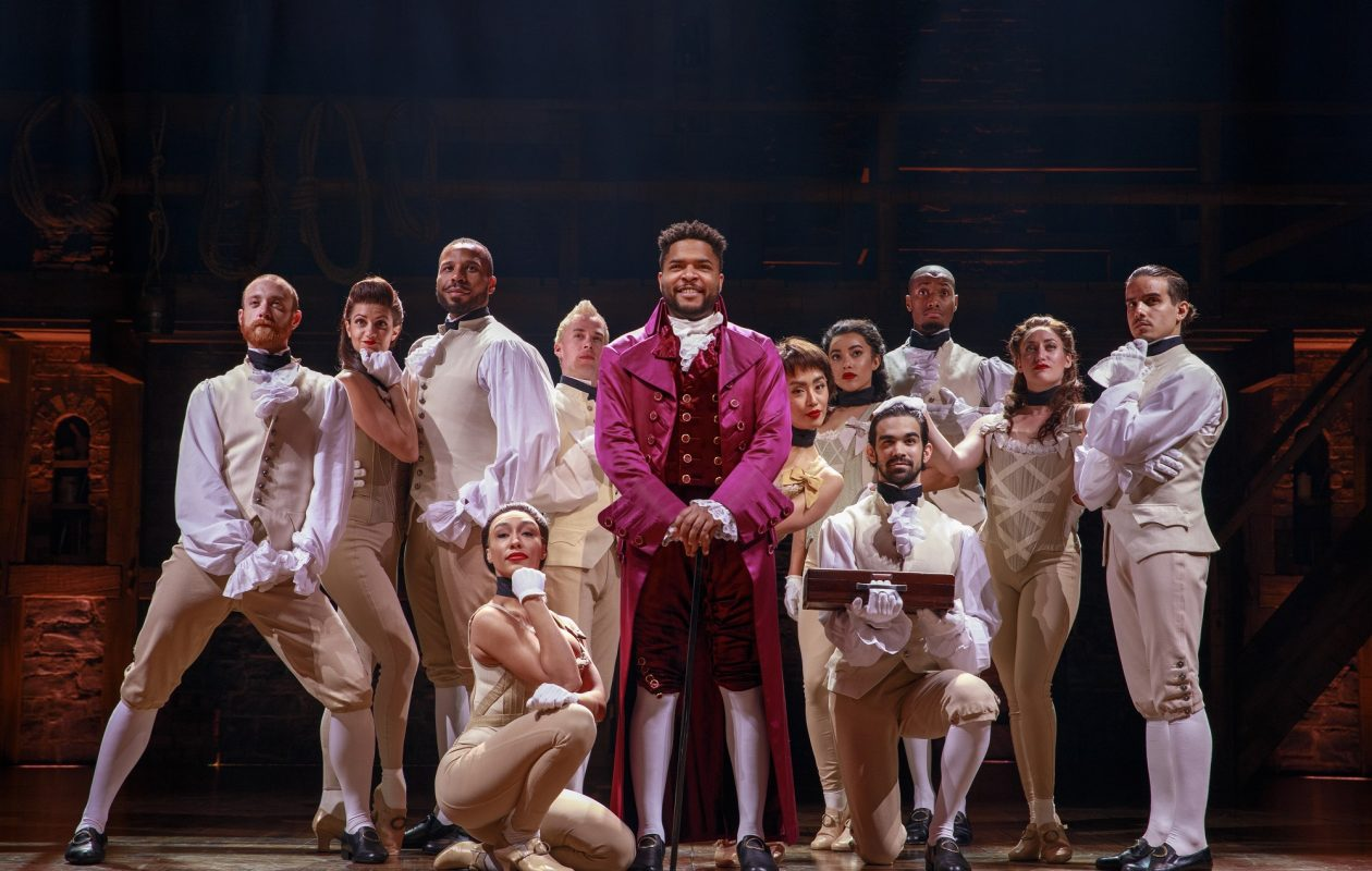Bryson Bruce, center, as Lafayette and company members of 'Hamilton.' (Photo by Joan Marcus)