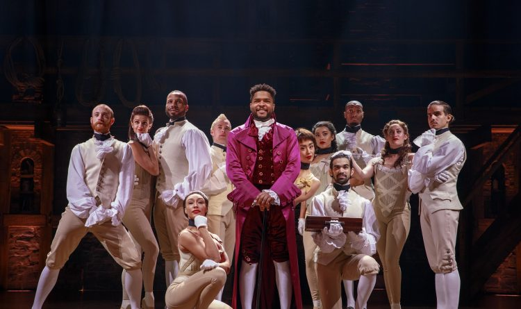 """Bryson Bruce, center, as Lafayette and company members of """"Hamilton."""" (Photo by Joan Marcus)"""