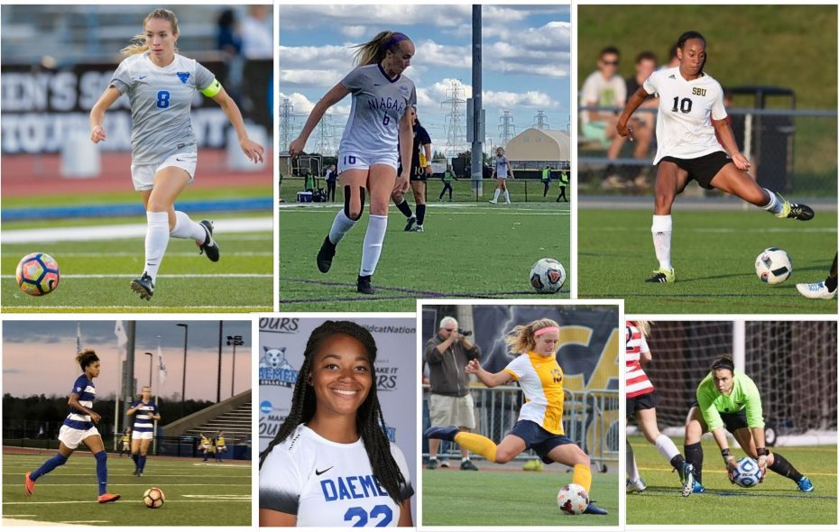 Clockwise, starting with upper left: Carissima Cutrona, Amelia Gulley, Marley Jarvis, Megan Dulniak, Emily Czechowski, Monique Green and Rebecca Bramble. (All photos courtesy of their respective athletic departments, except Gulley and Bramble, which are Ben Tsujimoto/News file photos)