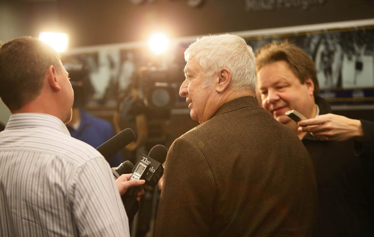 Longtime Buffalo Sabres announcer Rick Jeanneret before his induction to the Hockey Hall of Fame on Nov. 9, 2012. (Derek Gee/News file photo)