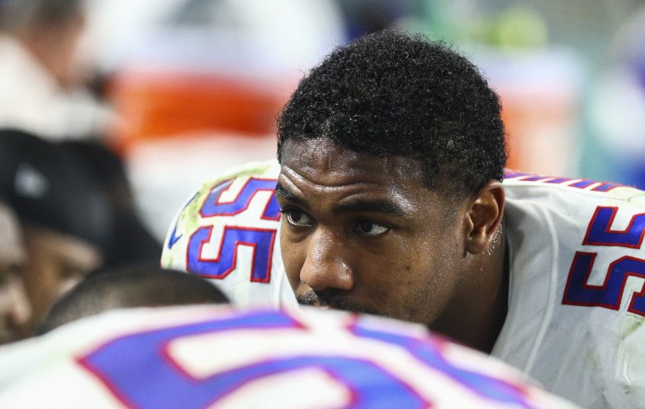 """""""I lost the game so I'm supposed to be angry,"""" Jerry Hughes said after a loss to Miami. (James P. McCoy/News file photo)"""
