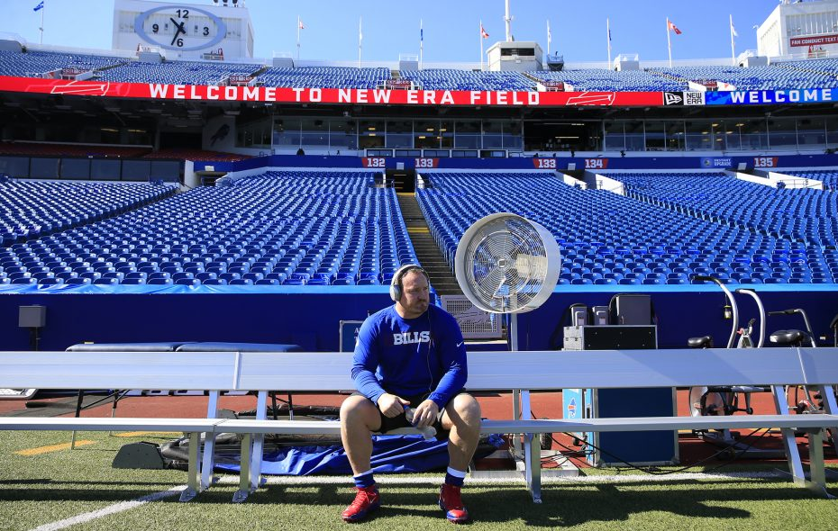 Kyle Williams sits on the bench before the game against the Chargers on Sept. 16. (Harry Scull Jr./News file photo)