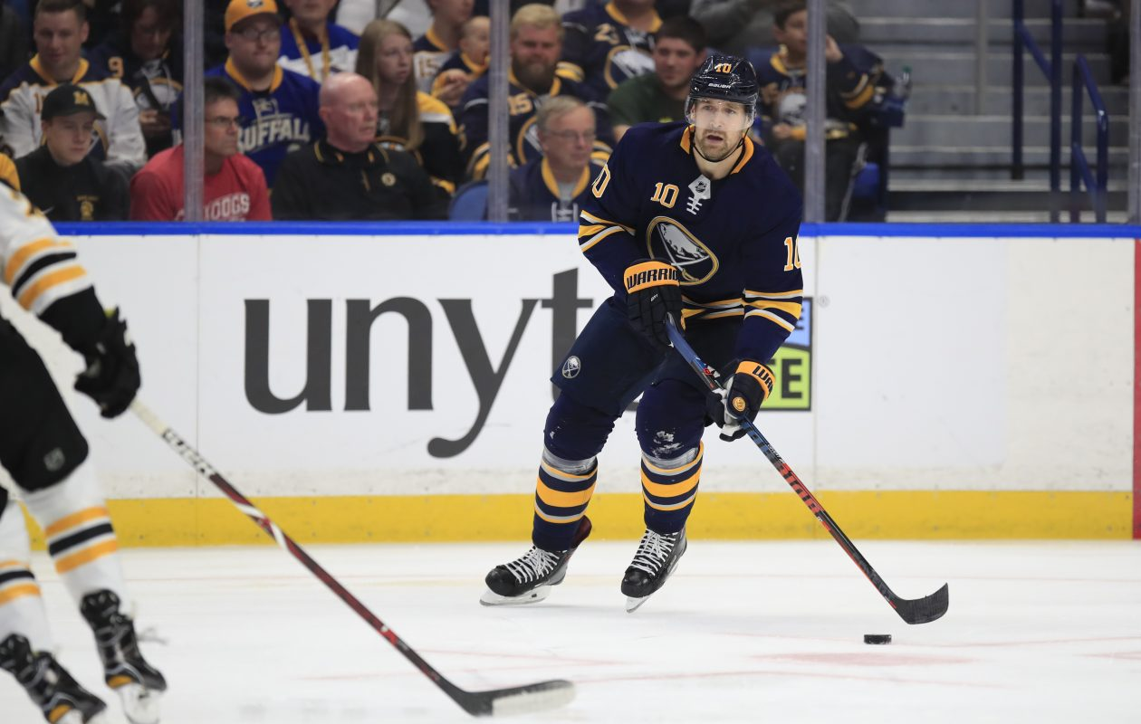Buffalo Sabres' Patrik Berglund skates with the puck against the Boston Bruins. (Harry Scull Jr./Buffalo News)