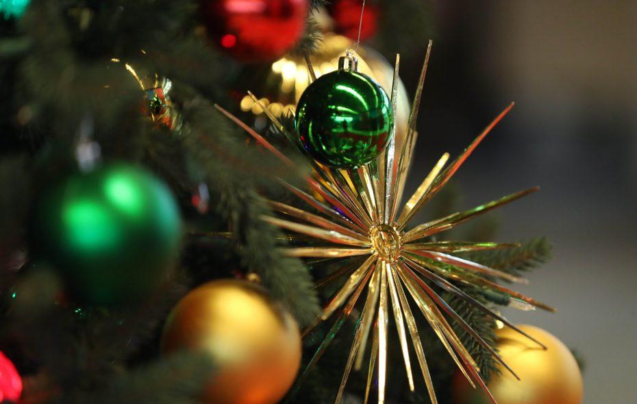 An ornament decorates the Christmas tree in The Buffalo News lobby. (Sharon Cantillon/Buffalo News)