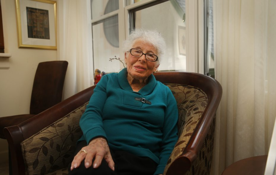 Ruth Lansing recounting the two nights of Kristallnacht. The Holocaust survivor lives in Amherst.   (John Hickey/Buffalo News)