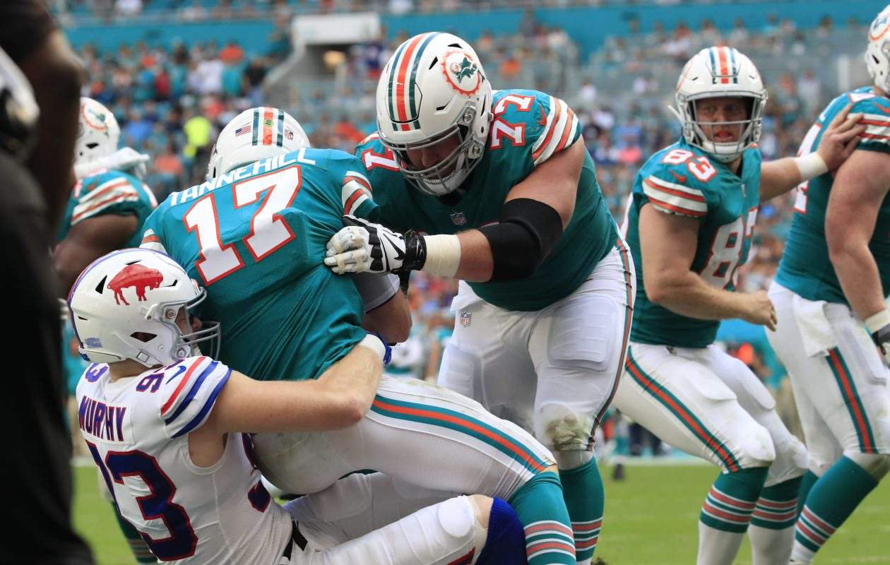 Trent Murphy sacks Miami Dolphins quarterback Ryan Tannehill. (Harry Scull Jr./News file photo)