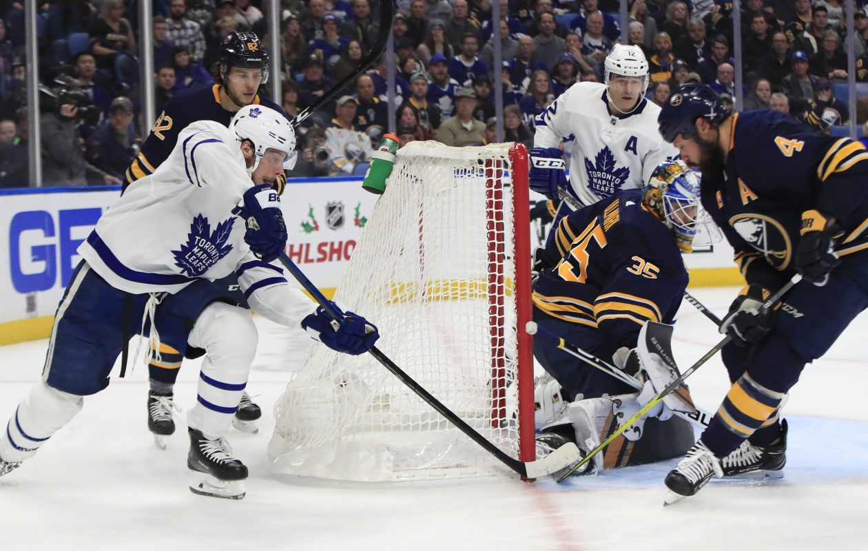 Toronto Maple Leafs Auston Matthews scores on the Buffalo Sabres during second period action at the KeyBank Center on Tuesday, Dec. 4, 2018. (Harry Scull Jr./ Buffalo News)