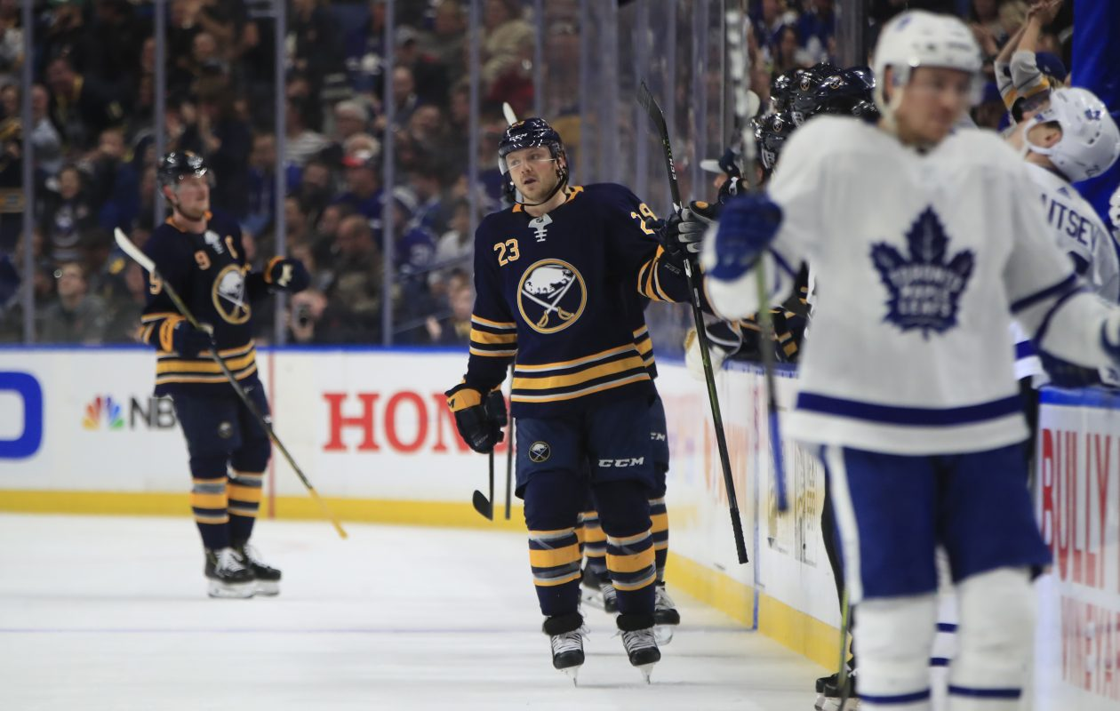 Buffalo Sabres Sam Reinhart celebrates his goal against the Toronto Maple Leafs during second period action at the KeyBank Center on Tuesday, Dec. 4, 2018. (Harry Scull Jr./ Buffalo News)
