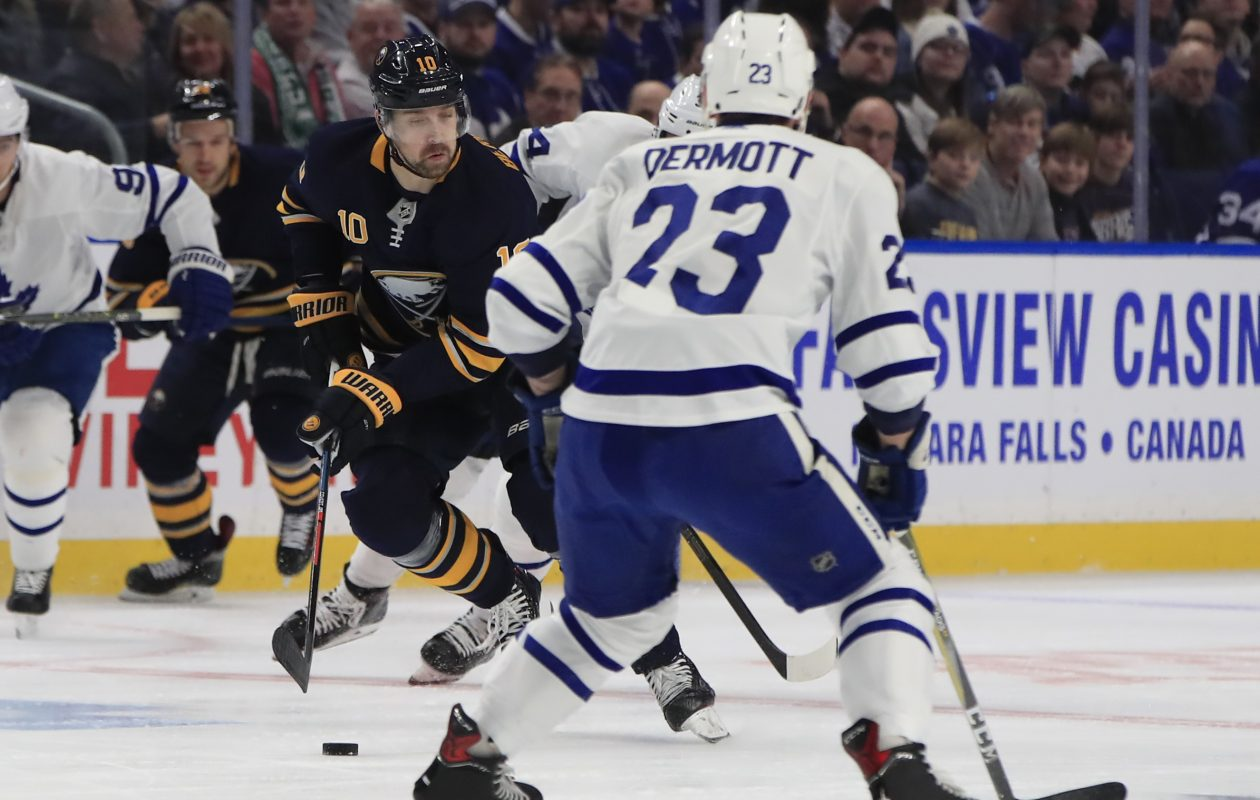 Buffalo Sabres center Patrik Berglund skates with the puck against the Toronto Maple Leafs during first period action at the KeyBank Center on Tuesday, Dec. 4, 2018. (Harry Scull Jr./Buffalo News)