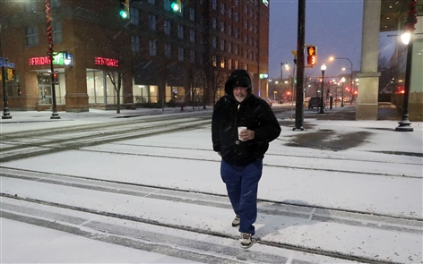 Buffalo awoke to a snowy morning Thursday as lake-effect bands settled on the area, slowing the morning commute.