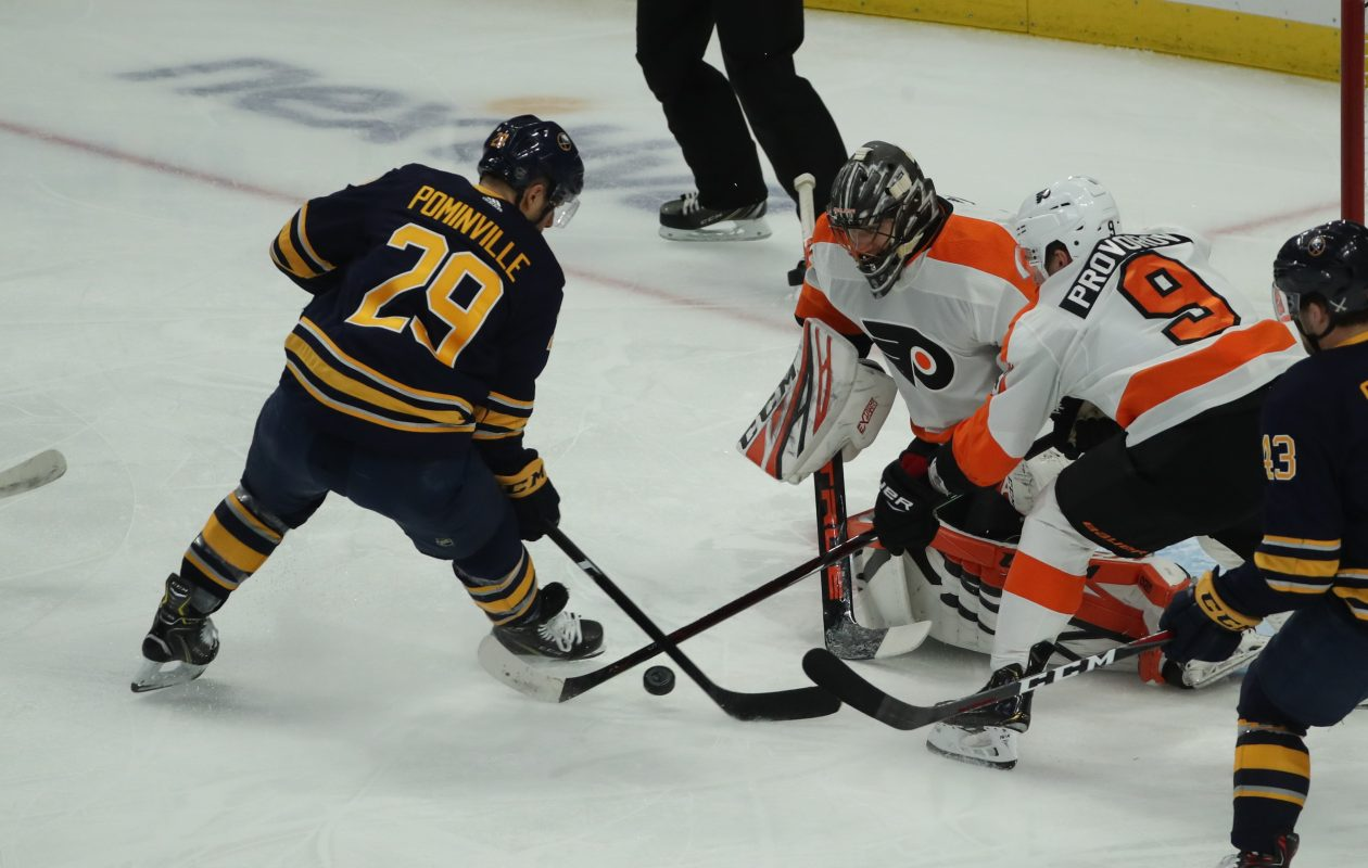 Buffalo Sabres right wing Jason Pominville takes a shot on Philadelphia Flyers goaltender Anthony Stolarz in the first period on Saturday, Dec. 8, 2018. (James P. McCoy/Buffalo News)
