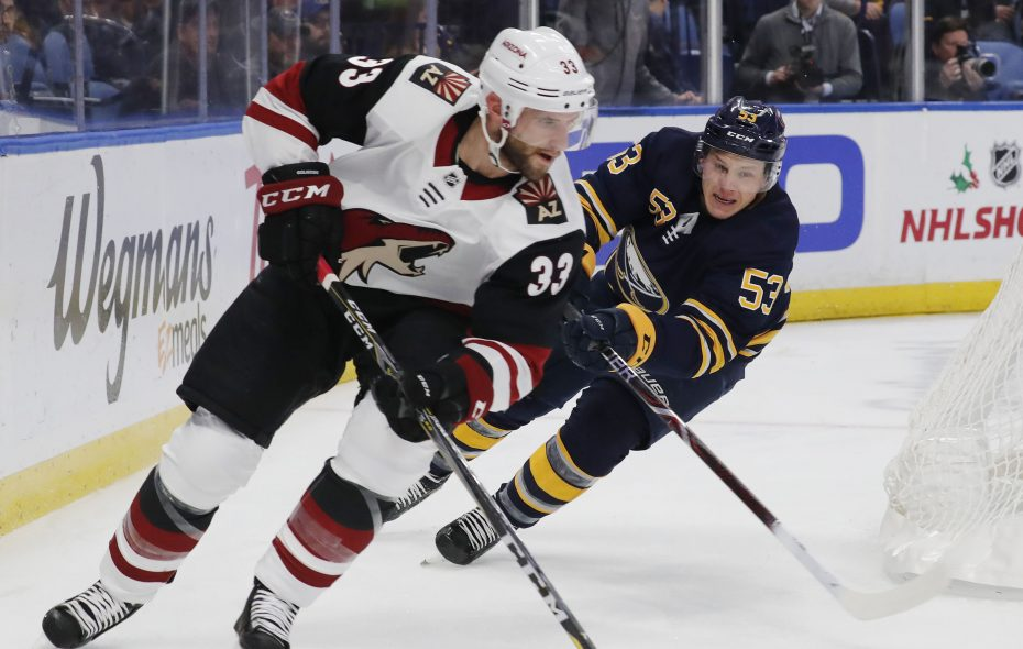 The Buffalo Sabres' Jeff Skinner chases Arizona Coyotes Alex Goligoski in the first period at KeyBank Center on Wednesday, Dec. 13, 2018. (Mark Mulville/Buffalo News)