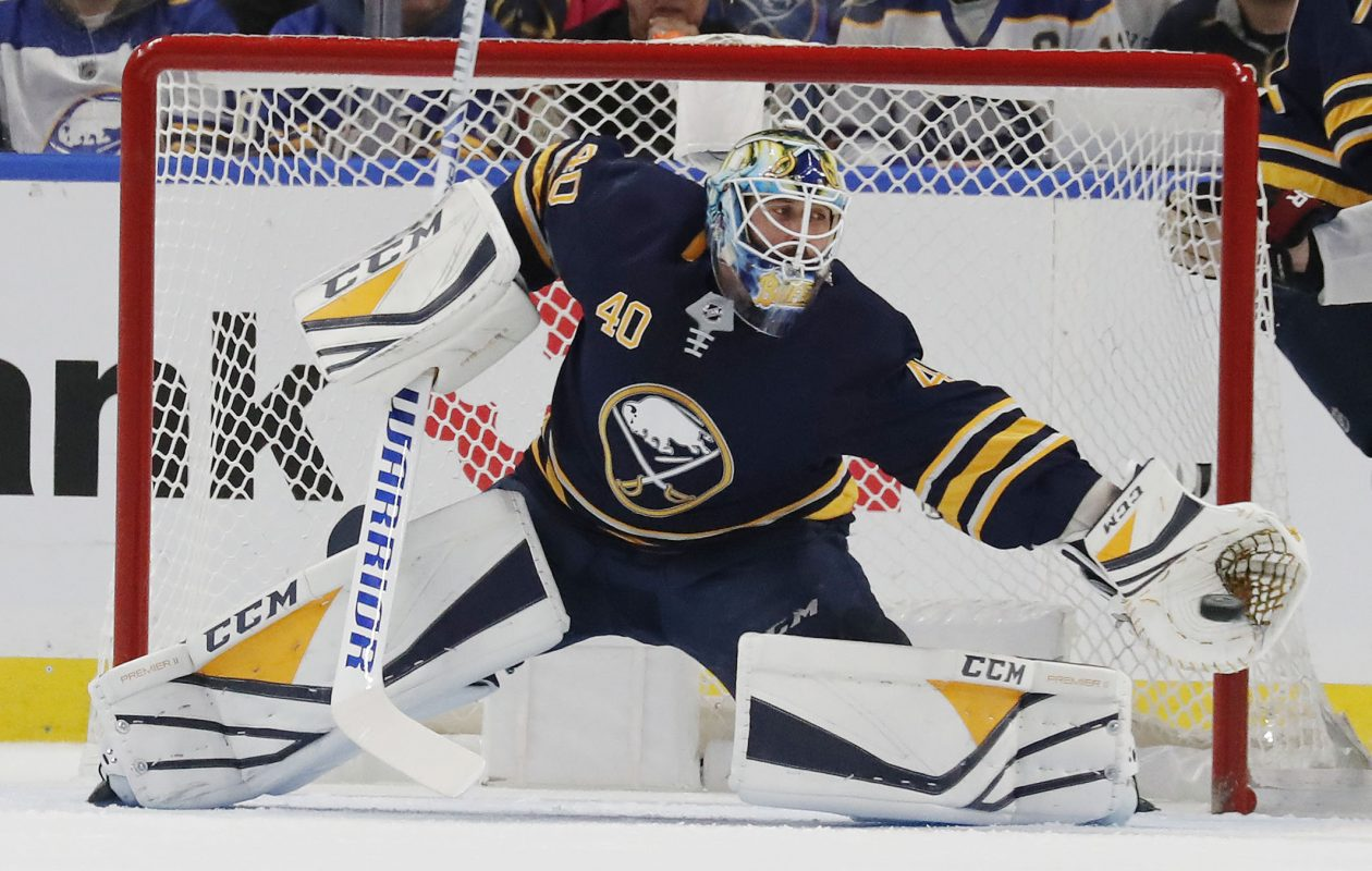 Carter Hutton allowed five goals on 12 shots Monday night in Edmonton.  (Mark Mulville/Buffalo News file photo)