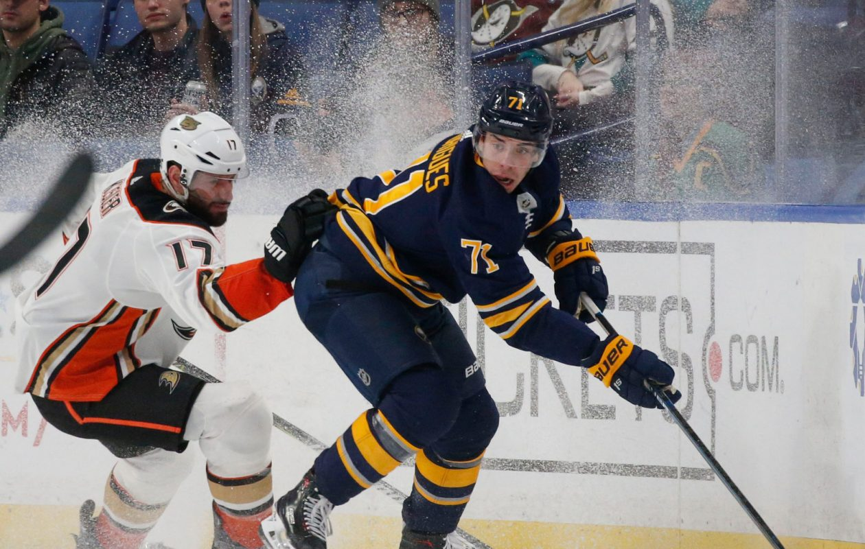 Buffalo Sabres forward Evan Rodrigues has four goals this season. (Derek Gee/Buffalo News)