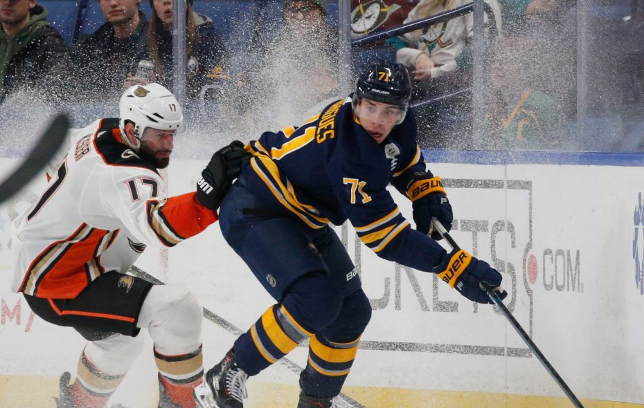 Buffalo Sabres forward Evan Rodrigues has four goals this season. (Derek Gee/Buffalo News)