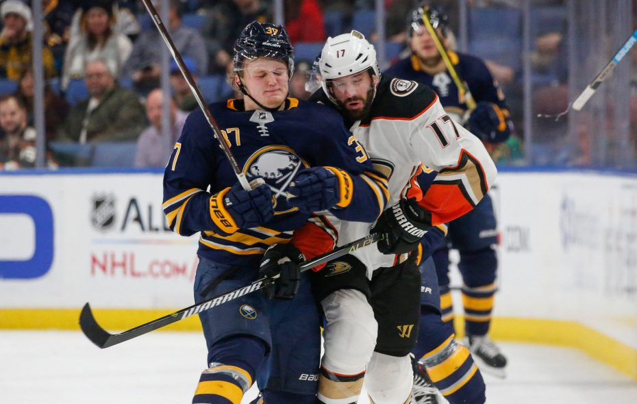 Sabres center Casey Mittelstadt (left) had six goals in 45 games entering Monday. (Derek Gee/Buffalo News)