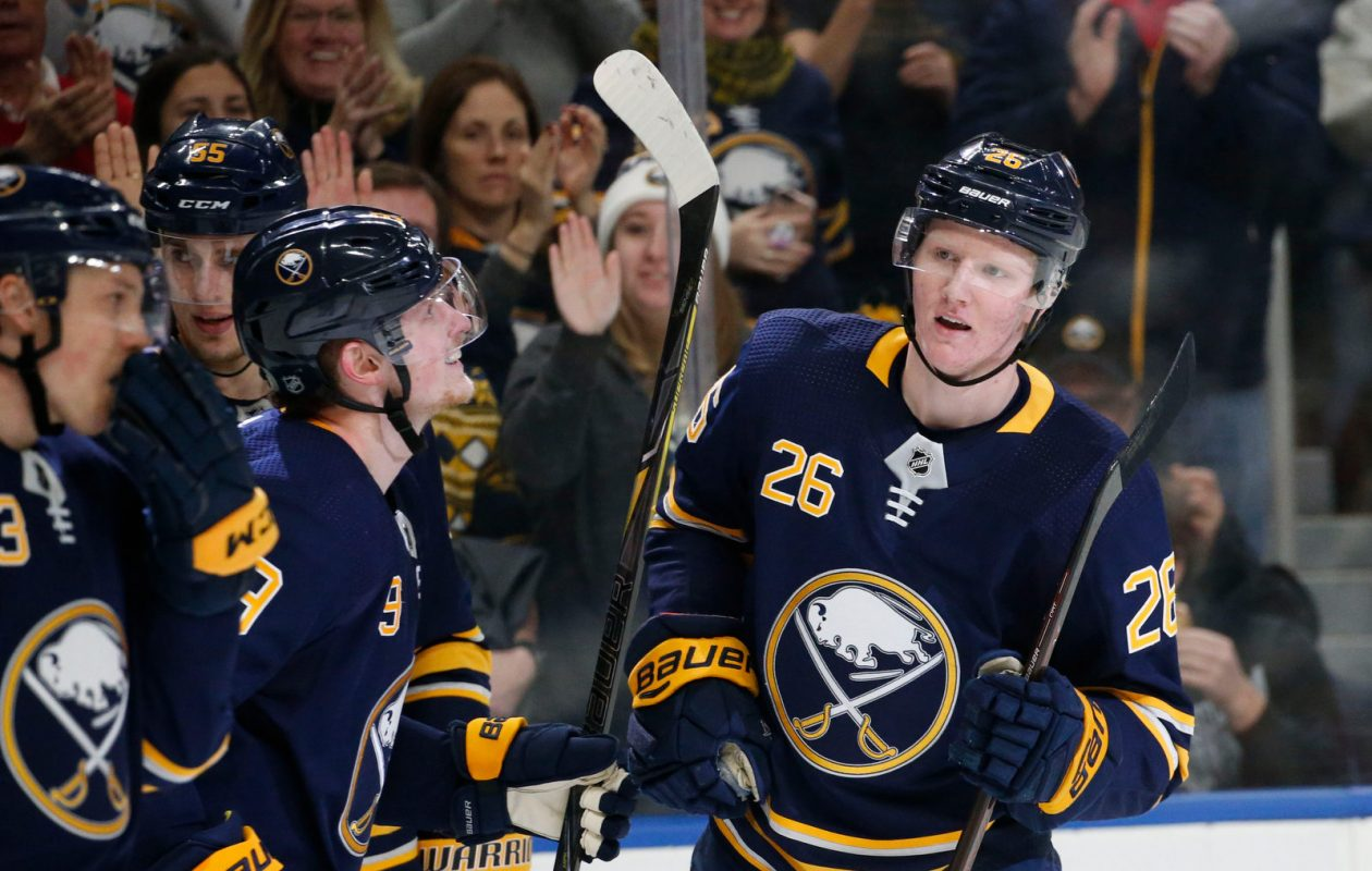 Defenseman Rasmus Dahlin celebrates his goal against the Anaheim Ducks on Dec. 22, 2018. (Derek Gee/Buffalo News)