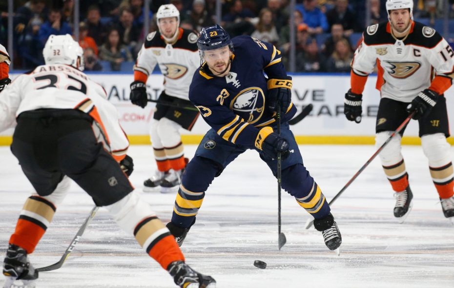 Buffalo Sabres winger Sam Reinhart has nine goals among 40 points in 42 games this season. (Derek Gee/Buffalo News)
