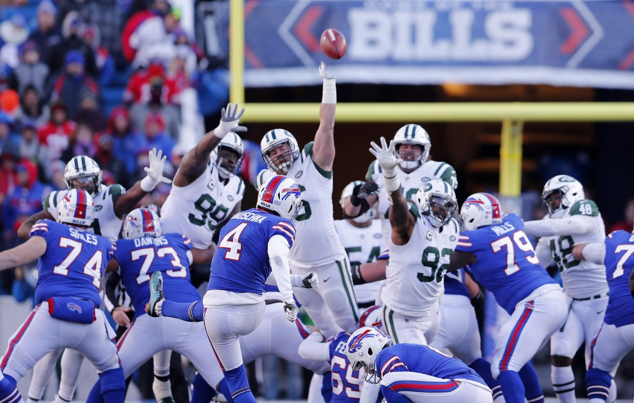 066bddb27 Buffalo Bills kicker Stephen Hauschka s field goal attempt is blocked by the  New York Jets in