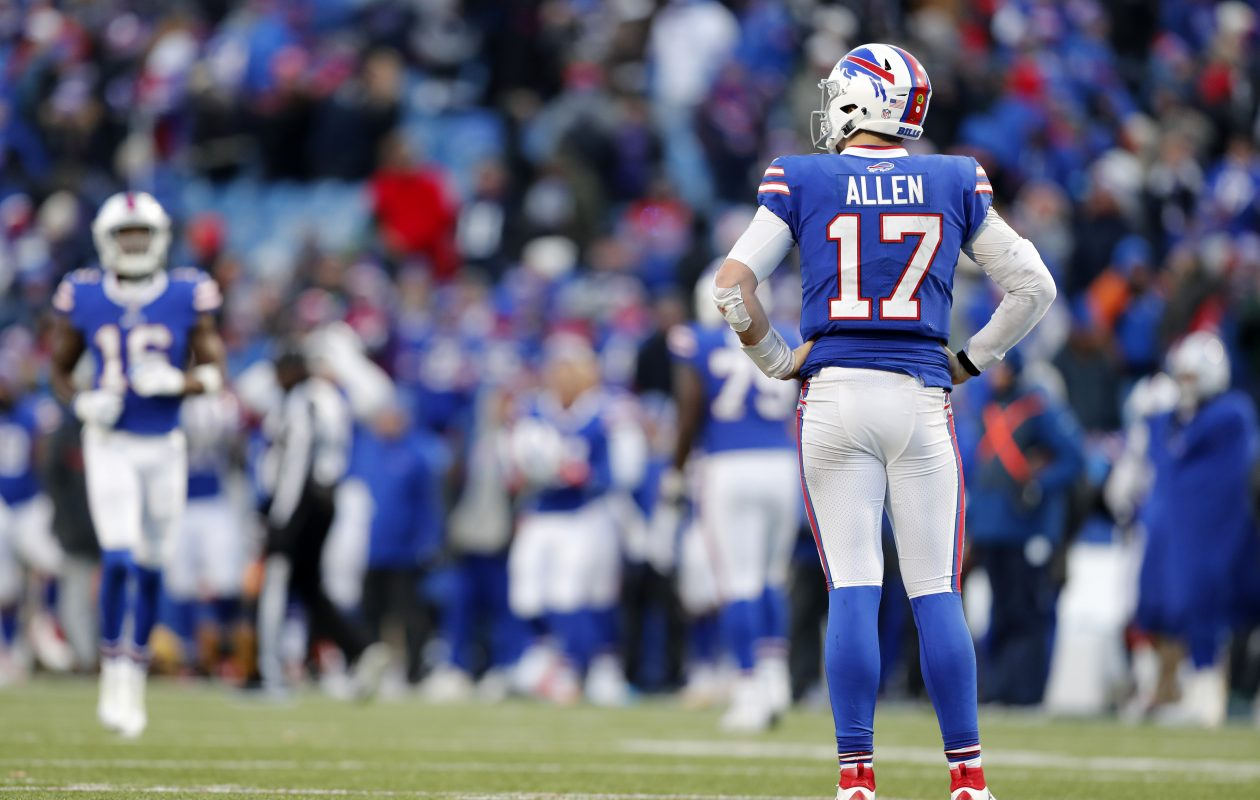 Bills' Josh Allen reacts to throwing an interception late in the fourth quarter at New Era Field Sunday, Dec. 9, 2018. (Mark Mulville/Buffalo News)
