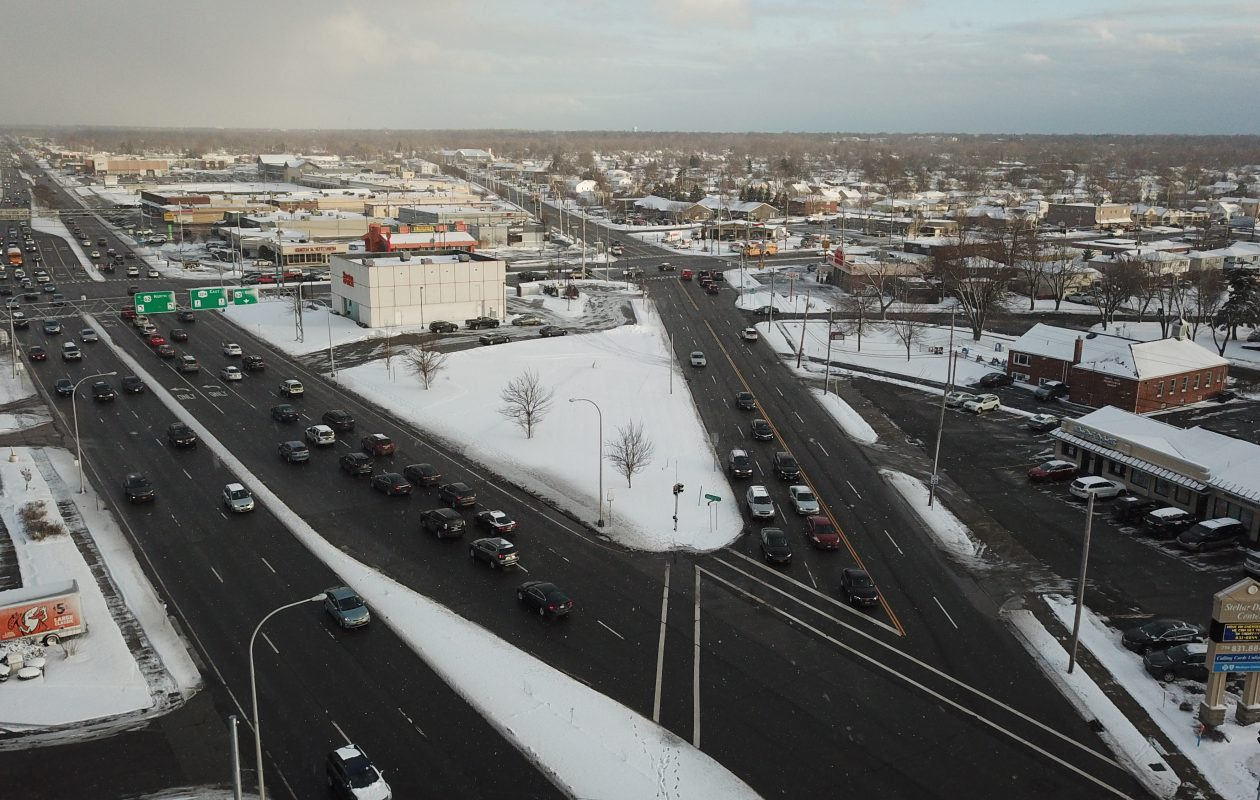 Plans are being considered to turn the intersection of Sheridan Drive (left), Niagara Falls Boulevard (top), and Eggert Road, into roundabouts, at the border of Amherst and the Town of Tonawanda. (John Hickey/Buffalo News)