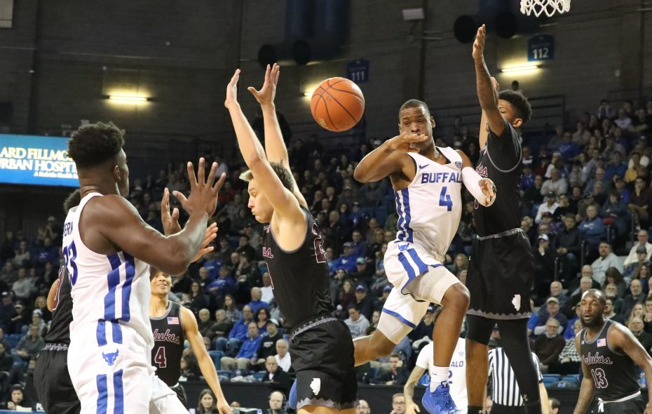 Buffalo Bulls guard Davonta Jordan passes the ball to Buffalo Bulls forward Nick Perkins in the second half at Alumni Arena in Amherst on Saturday, Dec. 15, 2018. (James P. McCoy/Buffalo News)
