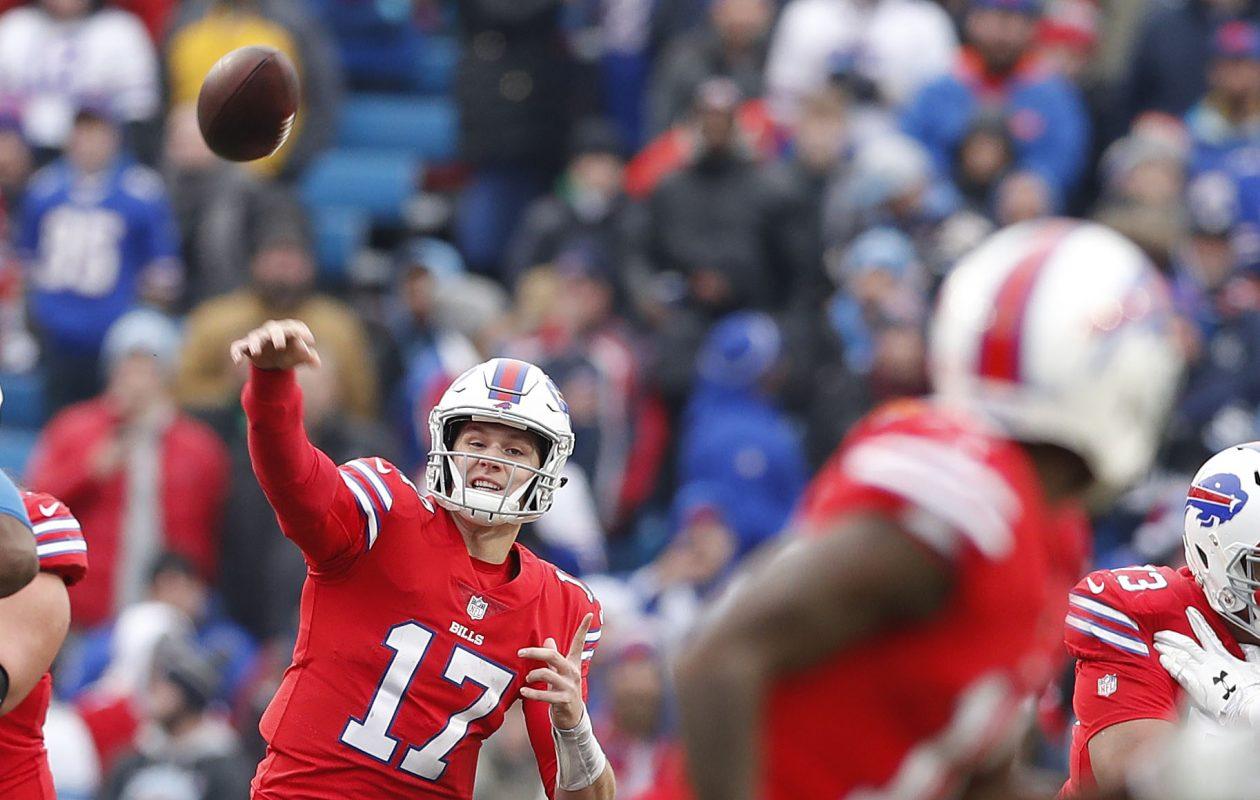 Buffalo Bills Josh Allen makes a throw in the third quarter at New Era Field in Orchard Park Sunday, December 16, 2018.    (Mark Mulville/Buffalo News)