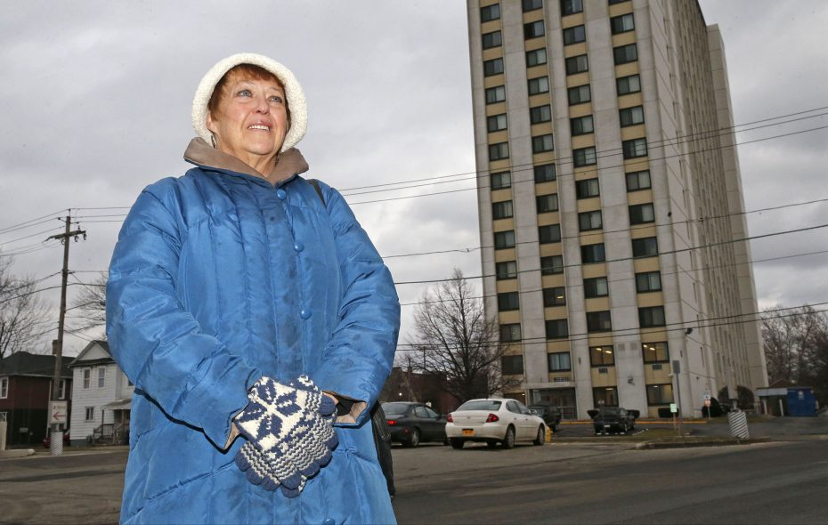 Deb Fuszara, a former service coordinator at Niagara Towers, in background, was fired for helping an evicted 78-year-old tenant call the newspaper seeking help.  (Robert Kirkham/Buffalo News)
