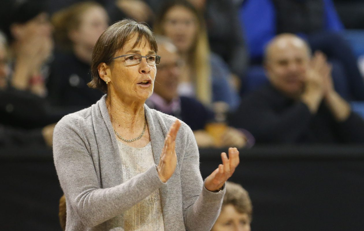 Stanford coach Tara VanDerveer cheers on her team at Alumni Arena  (Mark Mulville/Buffalo News)