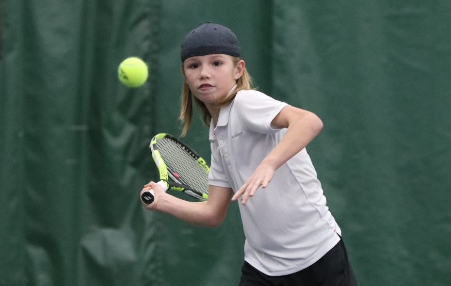 """8-under tennis player Michael Antonius, shown here at the Miller Tennis Center in Williamsville, won the prestigious """"Little Mo"""" International Championships in his age group in Forest Hills, N.Y., in  September. He then won the """"Little Mo"""" National Championships 8-under title in Austin, Texas. (James P. McCoy/Buffalo News)"""