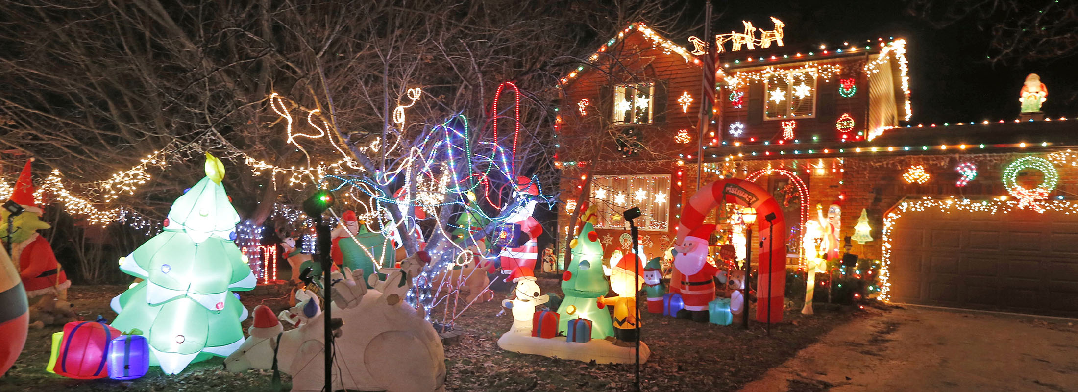 The McPhees have 43 inflatables at their holiday light display in South Cheektowaga. (Robert Kirkham/Buffalo News)